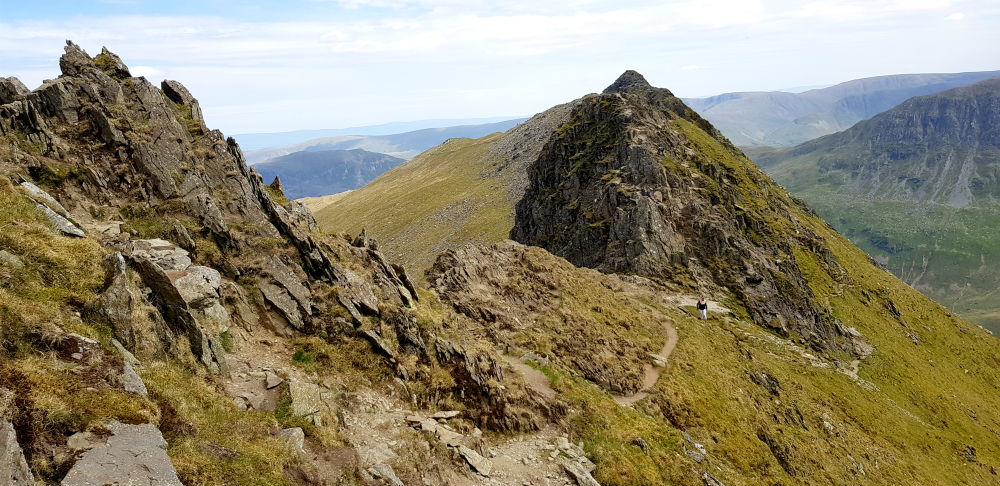 Striding edge on the way to Helvellyn Cumbria Lake District UK