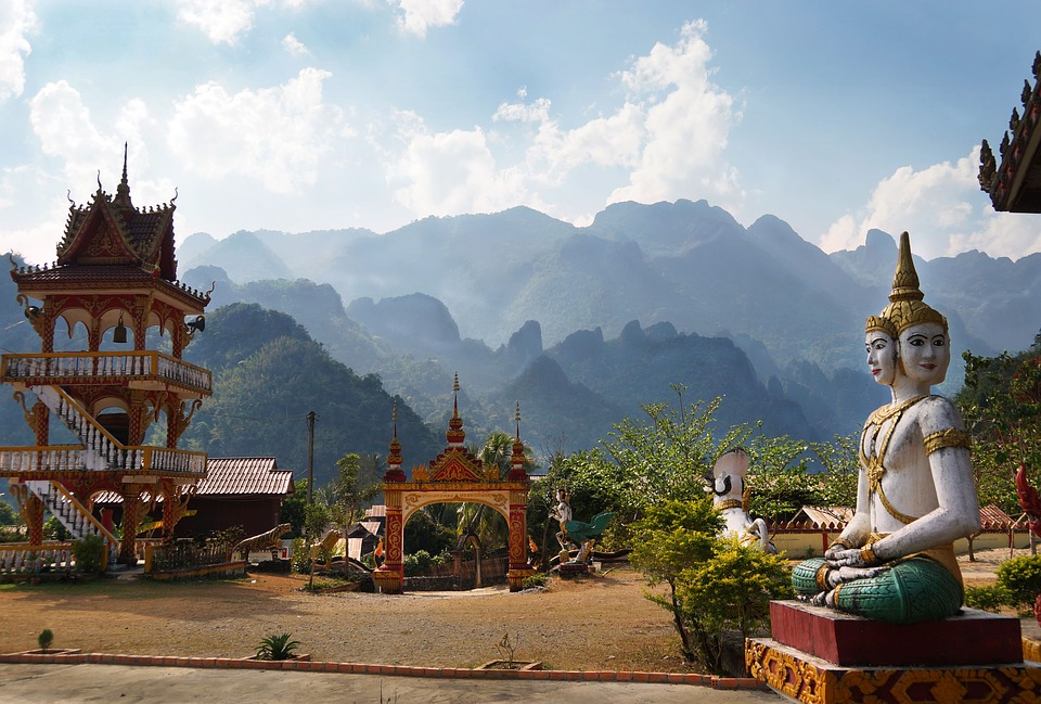 Laos mountains and temples Pixabay royalty free image