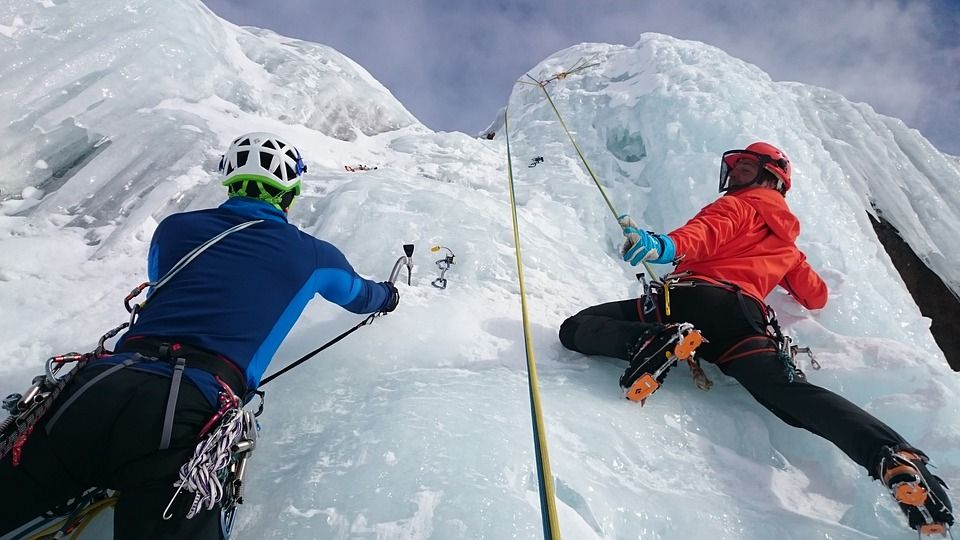 How to get cheap travel insurance for adventure holidays Pixabay royalty free image of ice climbing