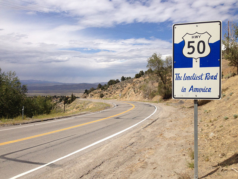 Overland adventures US route 50 in Nevada one of the3 loneliest roads in the world Wikimedia commons image by Famartin