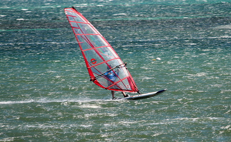 Learn to windsurf in Barcelona Wikimedia image by SatoSuro