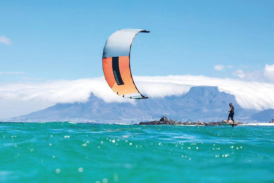 Cape Town kitesurfing in South Africa Pixabay attribution free image