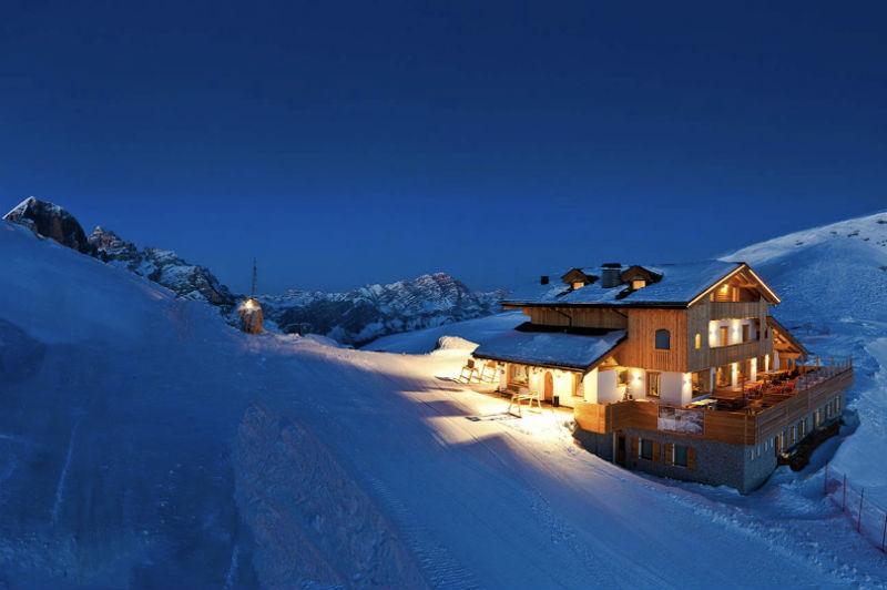 planning solo ski holidays mountain refuge in the dolomites courtesy of The Ski Safari