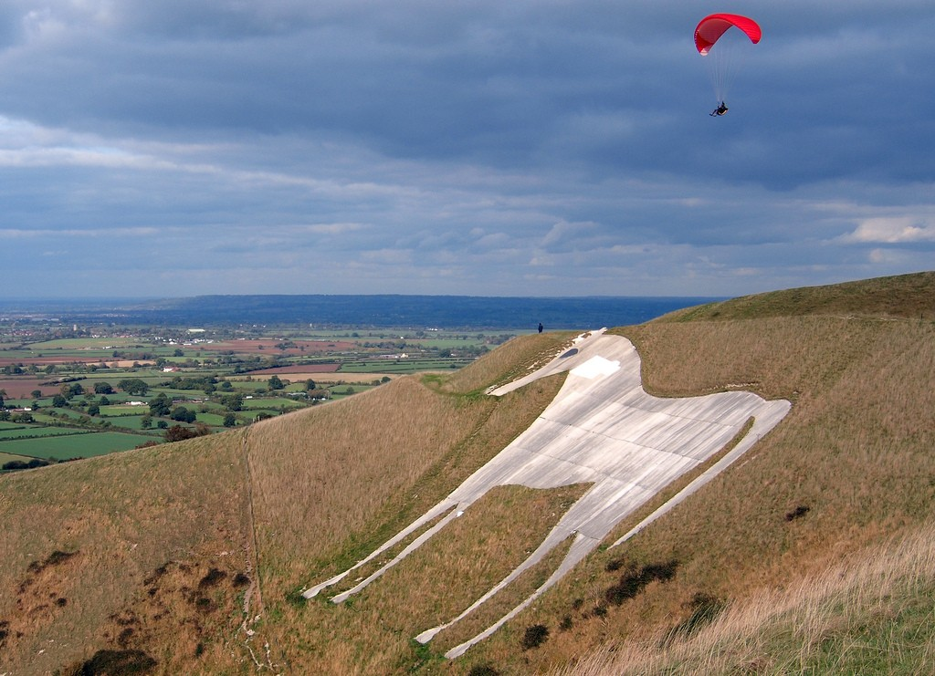 Paragliding a great adventure in England flickr CC image of Westbury or Bratton White Horse in Wiltshire by John Picken