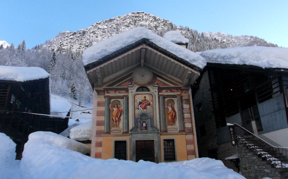 Walser church in alagna freeride snowboarding paradise