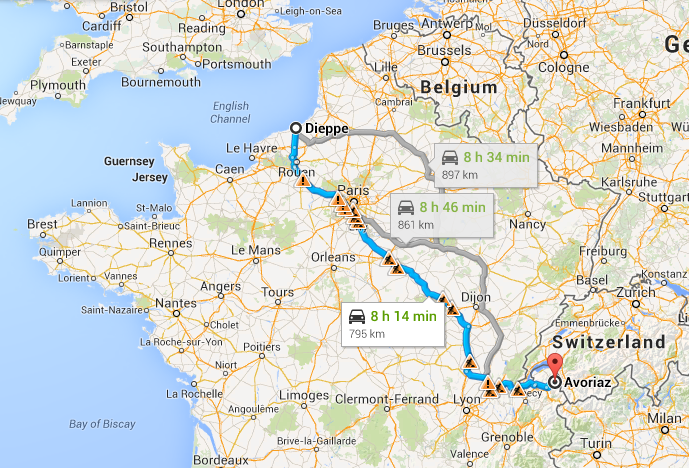 Cheap adventure holidays Drive across Europe Image courtesy of Google Maps