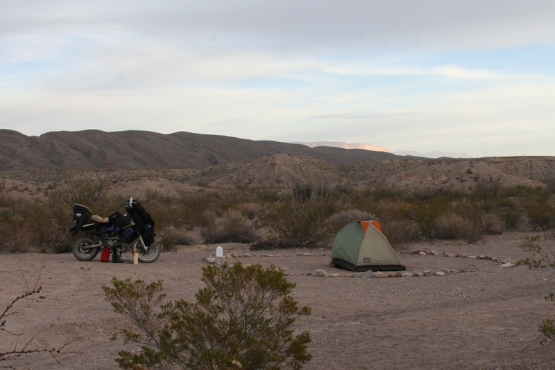 Motorbike wild camping in Big Bend National Park by Graham Field