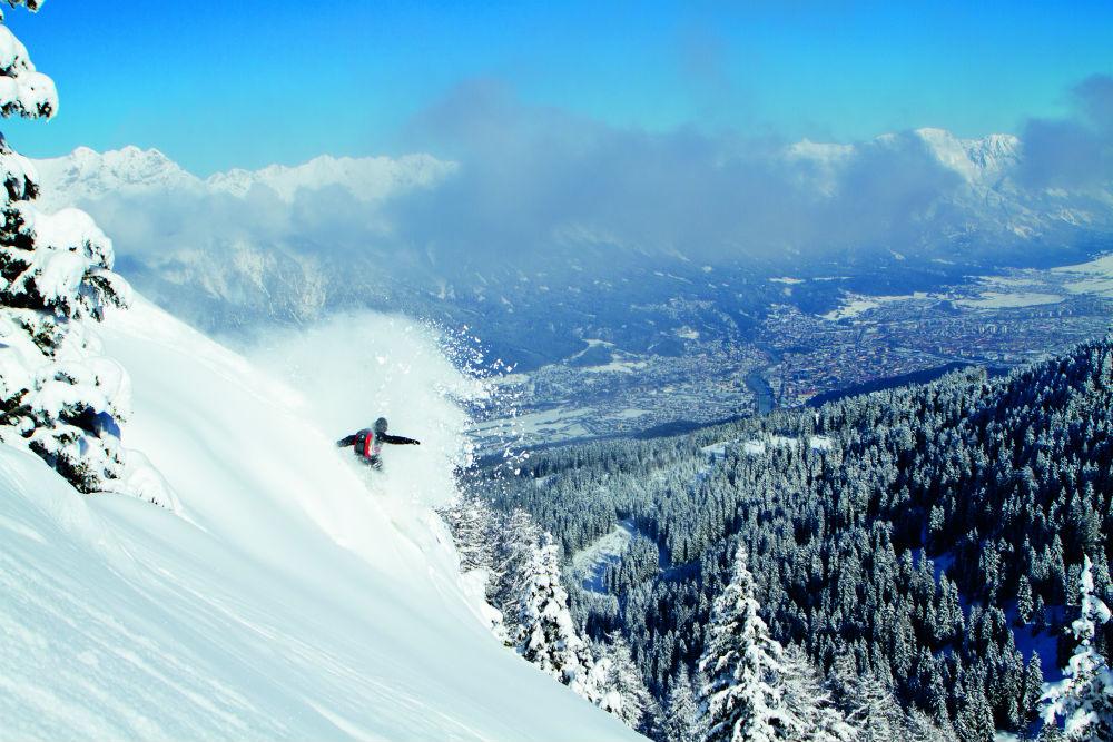 Austrian shred in Innsbruck one of the 16 best Austria snowboarding holiday destinations by Michael Berger © 2010 TVB Innsbruck