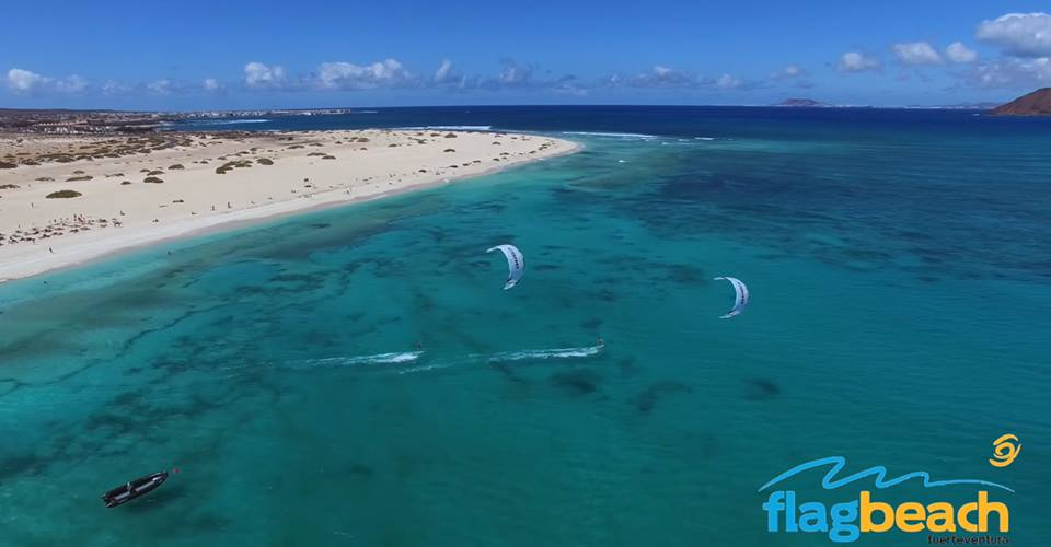 kitesurfing Flag Beach Fuerteventura - one of the best activities in the canaries Image courtesy of Flag Beach Kitesurf Centre