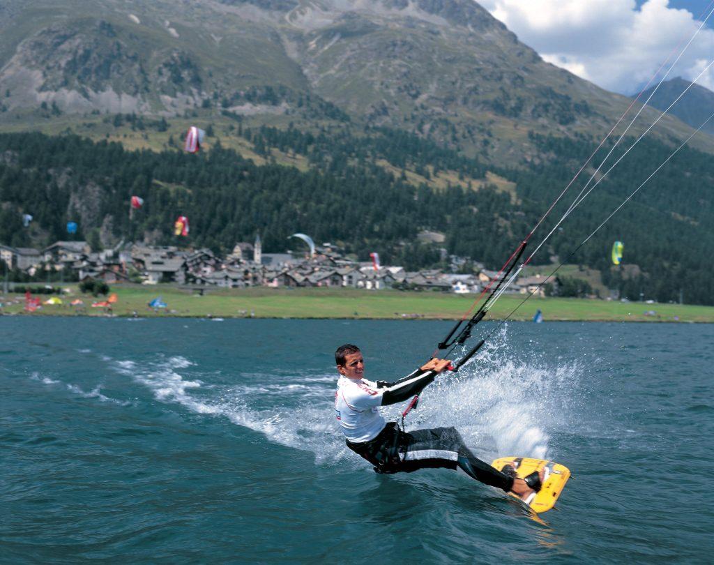 Lake Silvaplana kitesurf holiday in Switzerland to where kitesurfing began