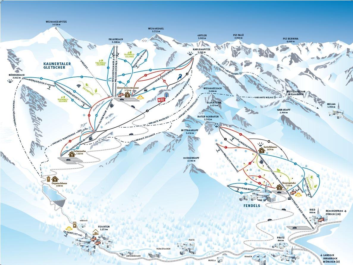 Review of Kaunertal snowboarding holiday piste map image courtesy of Kaunertal