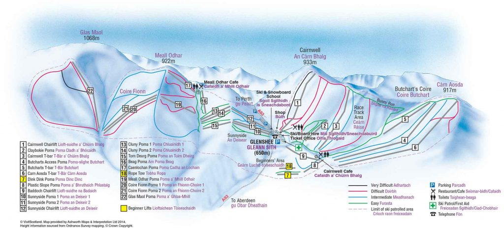 Guide to glenshee snowboarding in Scotland - piste map