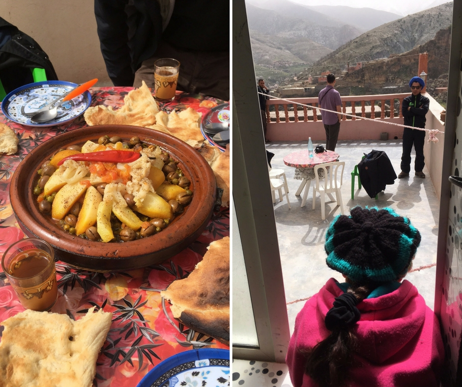 Traditional food served on a rooftop when trekking to Imin Tala