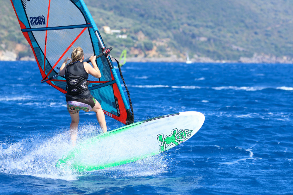 Vassiliki one of the top 5 freeride windsurf spots Best windsurfing holidays for all image of Fi Plavenieks by Tez Plavenieks