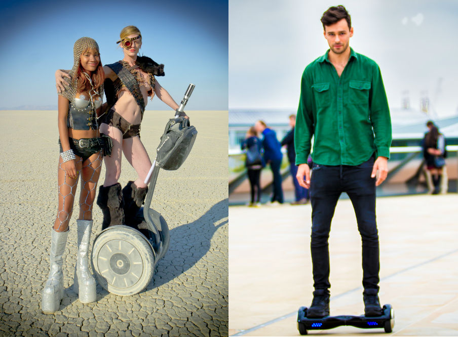 Segway vs hoverboard Battle of the self-balancing scooters Flickr CC images by peretzp and geturbanwheel