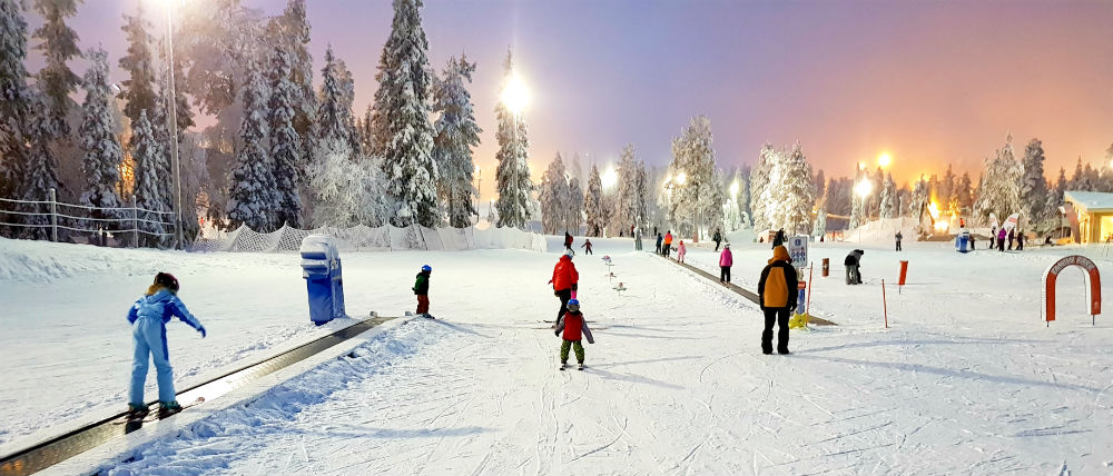 Skiing lessons Christmas in Lapland Review of Ruka family adventure holiday