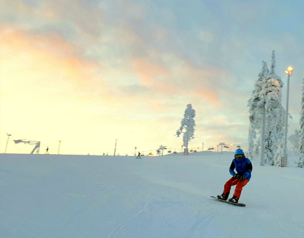 Snowboarding during Christmas in Lapland Review of Ruka family adventure holiday