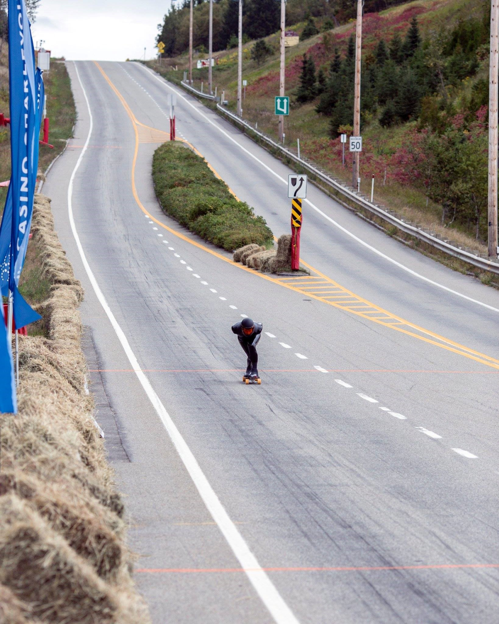 Introduction to competitive downhill skateboarding: Pete Connolly world record in Canada photo by Louis liberte
