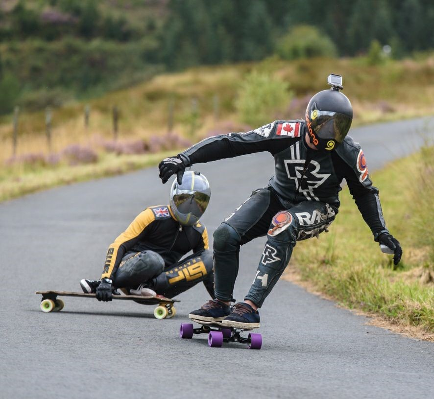 Introduction to competitive downhill skateboarding: Kurtis Dawe and Aaron skippings photo by lightphonics
