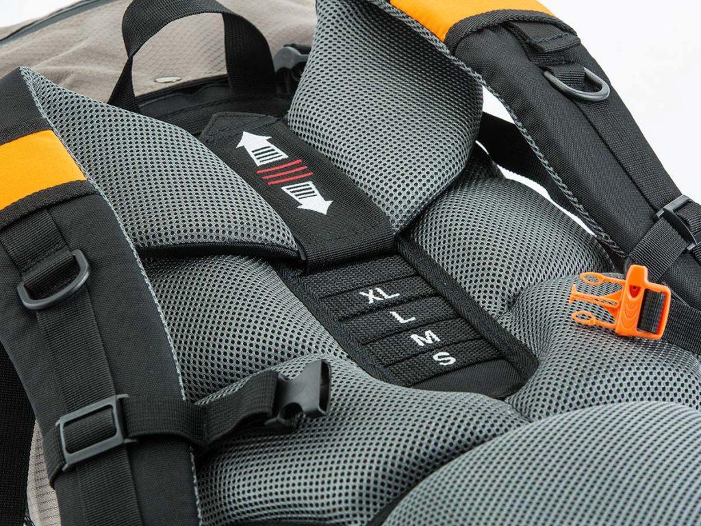 Adjustable back system on the Skandika Bogong medium rucksack