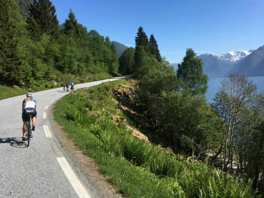 Group of riders on a Norwegian fjords cycling holiday by lakeside