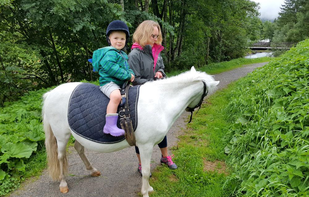 Review of Brandnertal multi activity family holiday in Vorarlberg pony ride