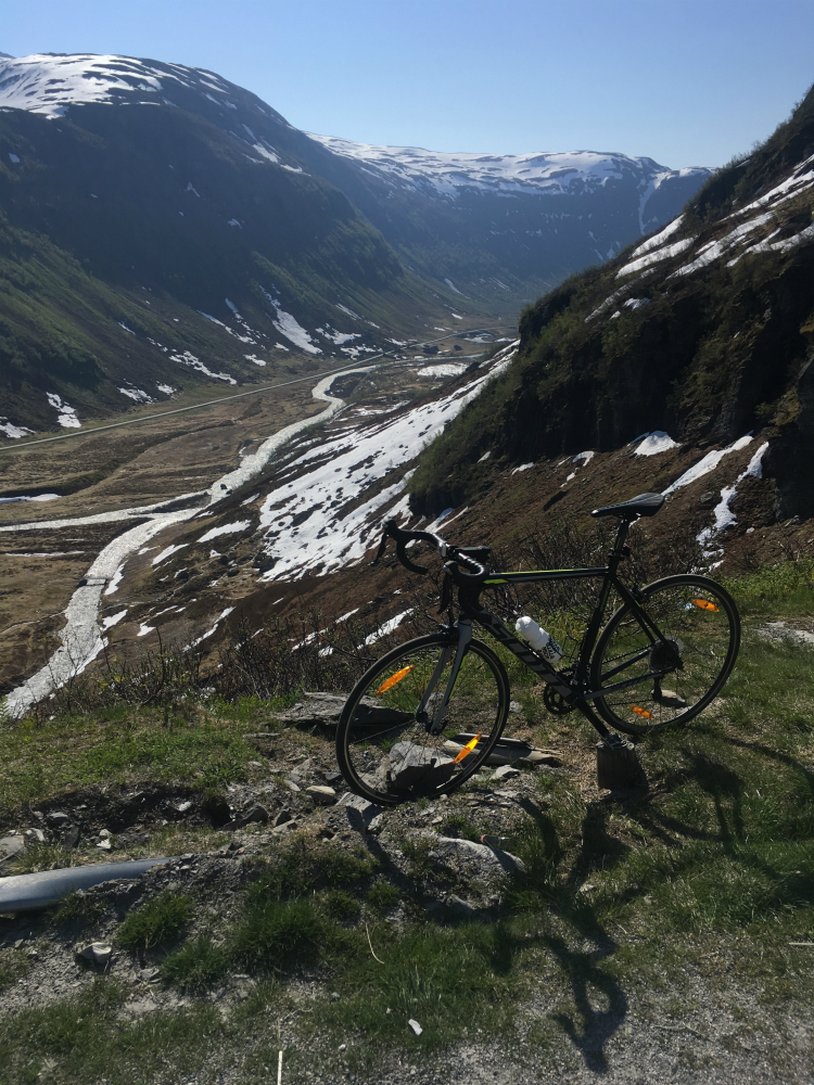 Bike at the top of Vikafjellet the first climb in this Norway bike tour
