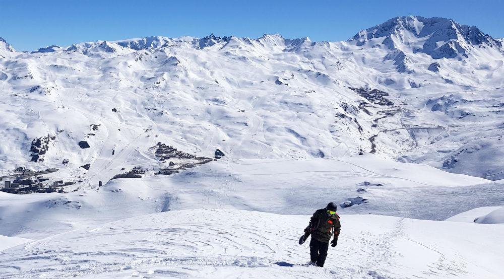 Les Menuires snowboarding review hiking La Gratte