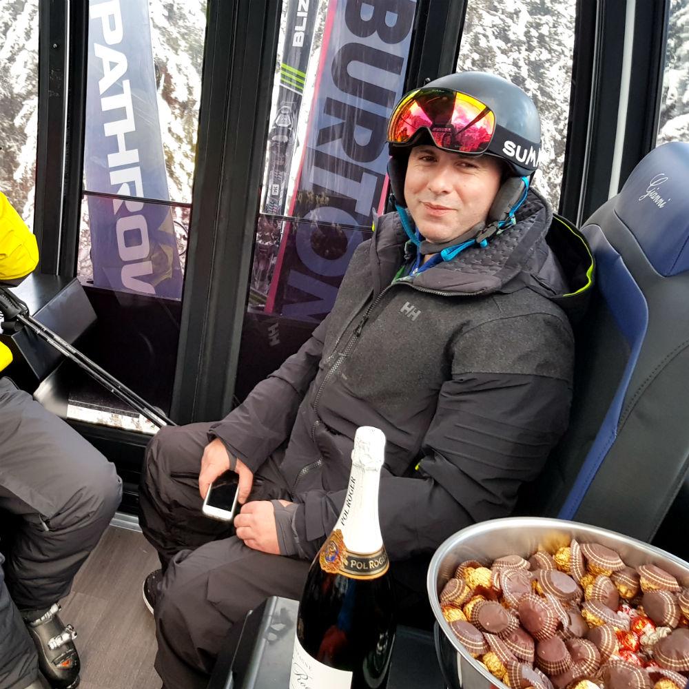 Champagne and Ferrero Roche inside VIP Piz Seteur gondola