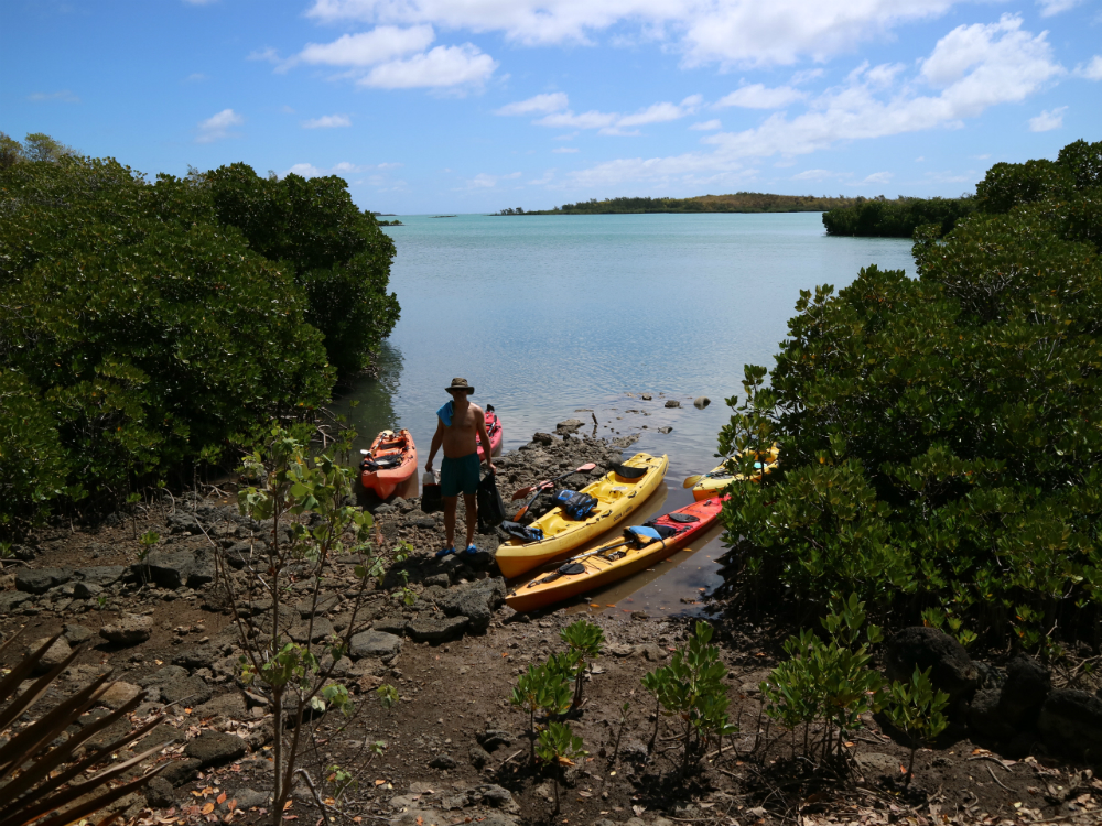 Sea kayaking to Amber Island arriving on the jetty. Picture @Julia Horbaschk