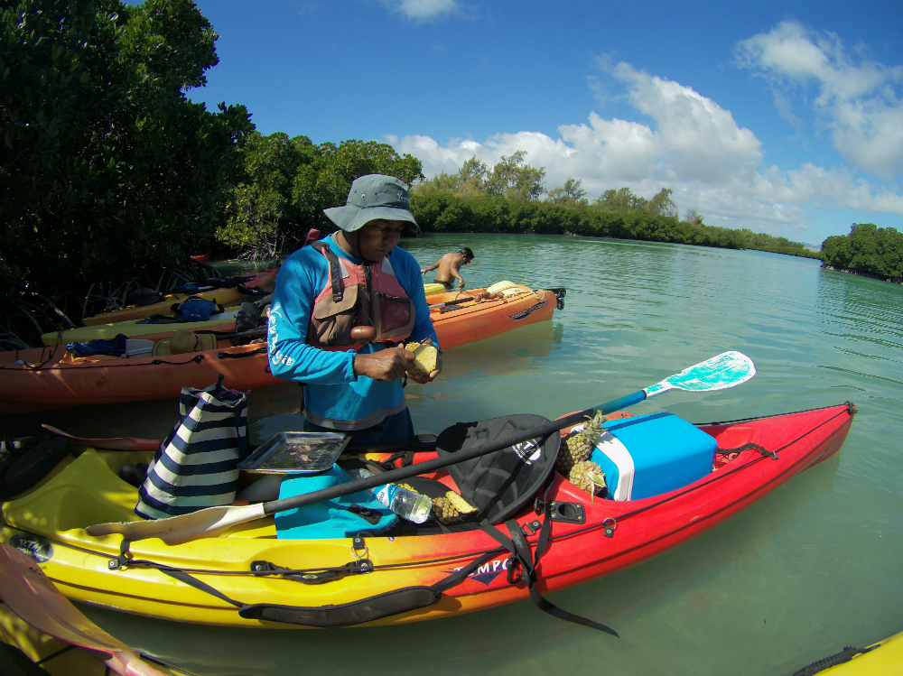 Eating pineapple while sea kayaking to Amber island