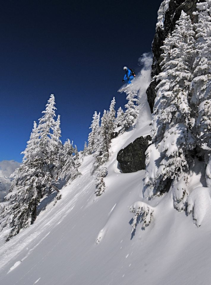 10 best freeride ski destinations worldwide Image of Rachel Findler in Whistler at Kybers cliff