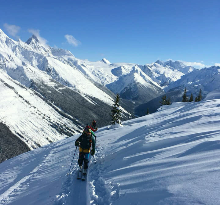 10 best freeride ski destinations worldwide Image of Rachel Findler skiing Rogers Pass Canada