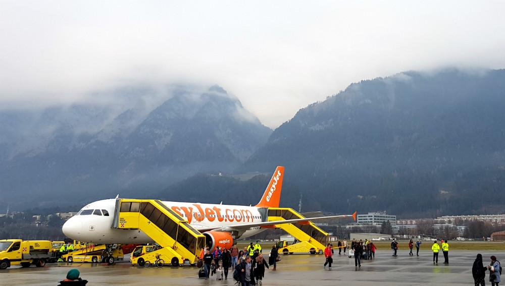 Innsbruck airport during Review of Ischgl snowboarding in December