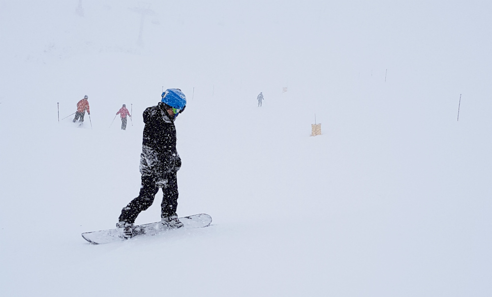 Review of Ischgl snowboarding in December Day 2 whiteout not quite so bad