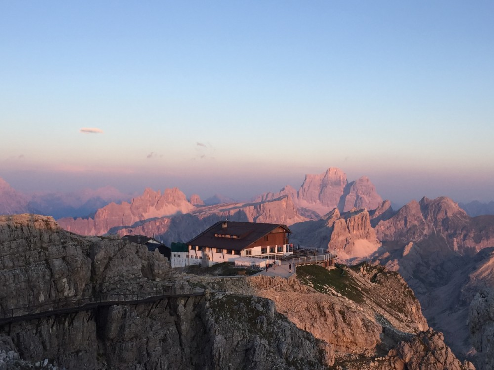 Sunset from the Rifugio Lagazuoi on the Alta Via 1 By Cloud 9 Adventure