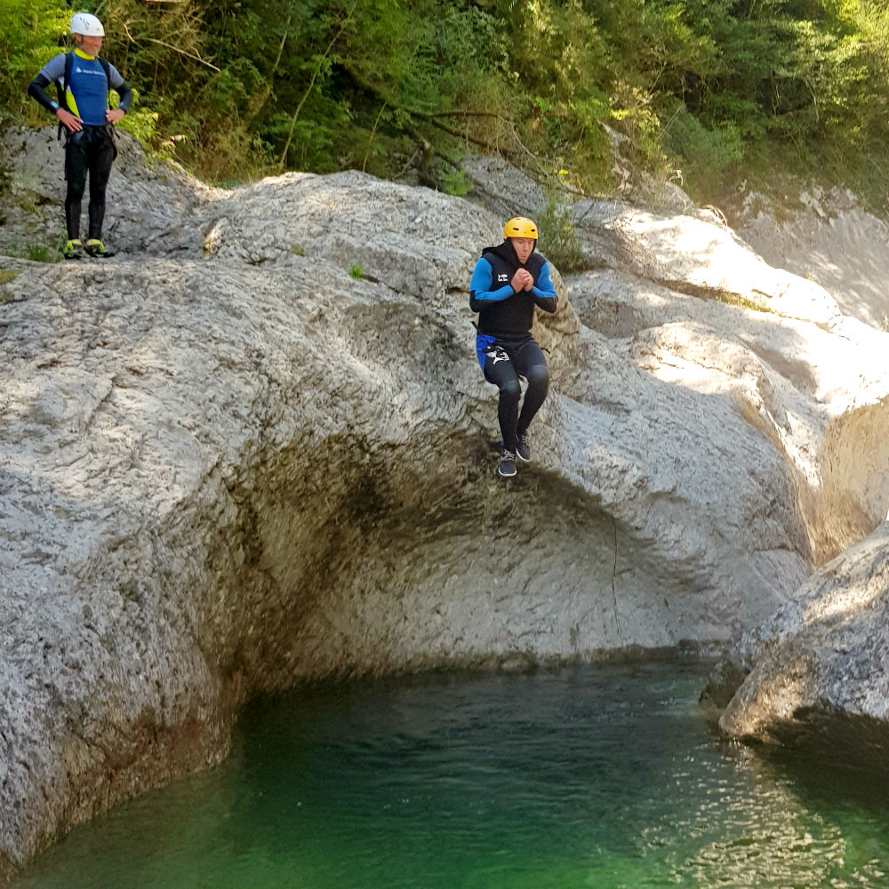 Canyoning in Spain during French Pyrenees adventure holiday review