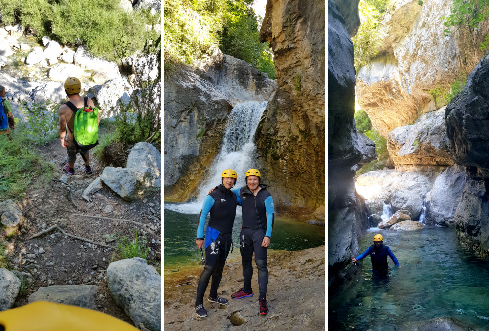Canyoning in Spain during Multi activity summer mountain trip in the Pyrenees