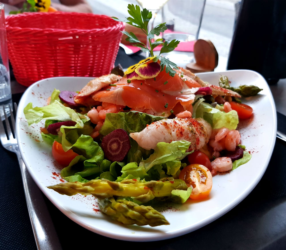 Seafood salad at Restaurant Basquetoy in Luz during Pyrenees adventure holiday review