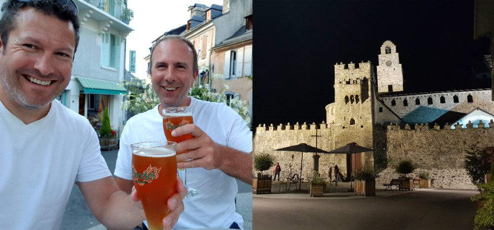 Square outside Hotel Templiers in Luz by day and night during Pyrenees adventure holiday review