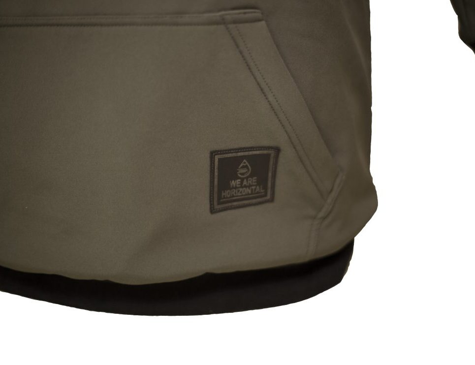 We are Horizontal - the shred softshell hoodie review - Close-Up-Bottom-Front