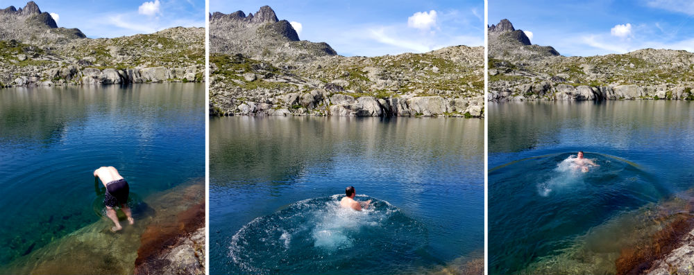 Wild Swimming in glacier fed lake in National Reserve of Nouvielle