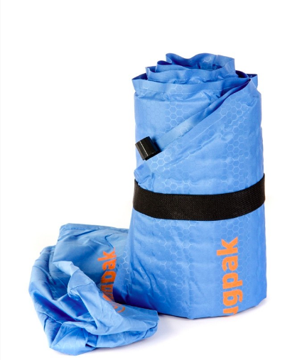 Inflatable roll mat packed up small