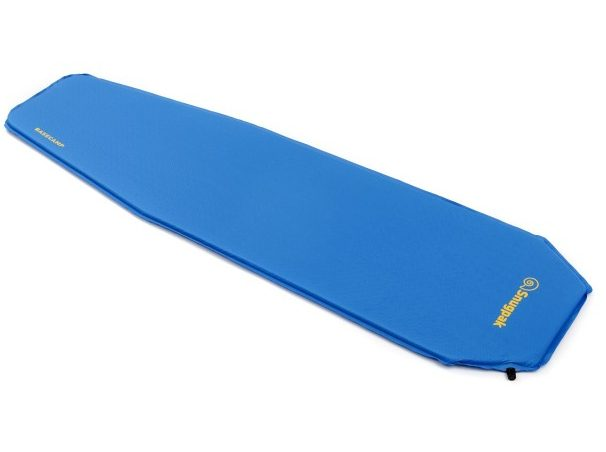 blue self inflating mat used for camping in Winter