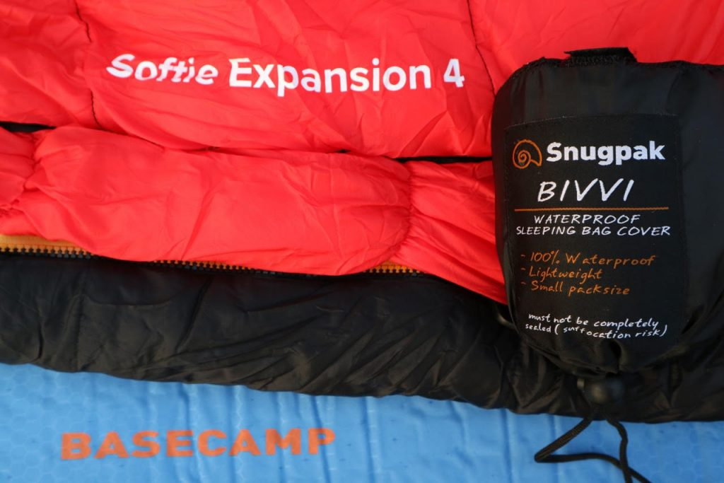 Sleeping bag on a roll mat and a bivvi bag ready for camping
