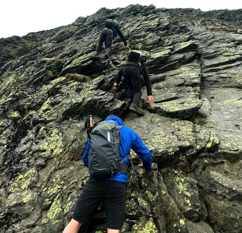 Scrambling up Sharp edge In Lake District