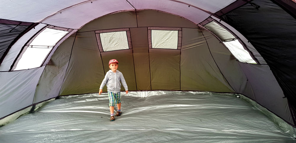 Inside of Skandika Gotland 6 an easy to pitch large family tent