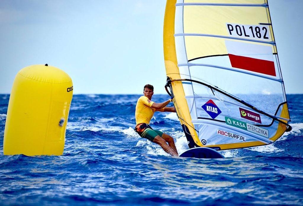 Summer windsurfing in Europe Wikicommons CC image of Paweł Tarnowski in Mondello, Sicily in June 2015 by Paweł Paterek