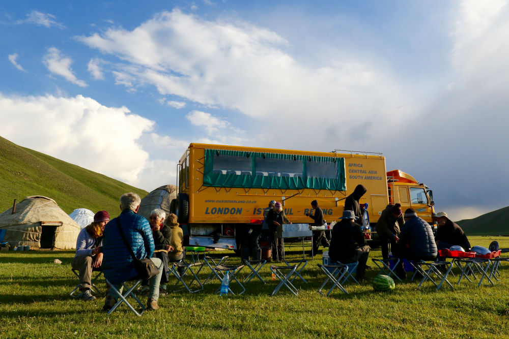 group overland travel Lunch and truck Jeti Orguz (great photo) Image courtesy of Oasis Overland