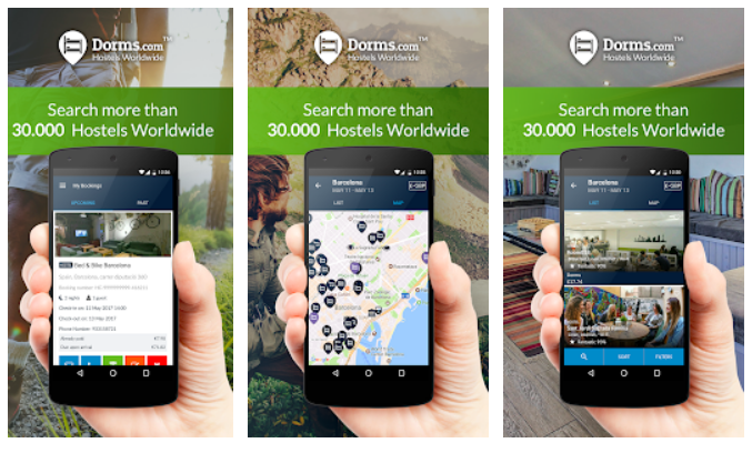 mobile screens of popular backpacking app by Dorms.com